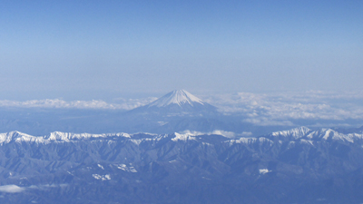 Le mont Fuji, Fujisan 富士山, vu d'avion © Aventure Japon